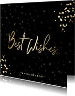 Nieuwjaarskaart Best Wishes sterren goud met confetti