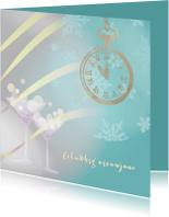 Nieuwjaarskaart blauw met klok op 5 voor 12