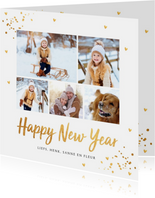 Nieuwjaarskaart fotocollage goud confetti