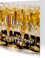 Nieuwjaarskaart Happy New Year 2019 Champagne