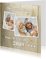 Nieuwjaarskaart Hip Houtprint Foto 2019