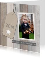 Nieuwjaarskaart hout foto label