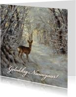 Nieuwjaarskaart met wintertafereel Hert in bos
