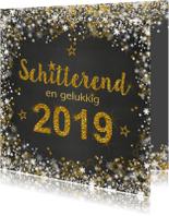 Nieuwjaarskaart schitterend 2019 grijs en goud