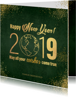 Nieuwjaarskaart stijlvol donkergroen en goud wereldbol 2019
