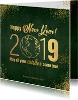 Nieuwjaarskaarten - Nieuwjaarskaart stijlvol donkergroen en goud wereldbol 2019