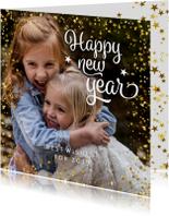 Nieuwjaarskaart vierkant met sterren en foto