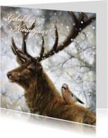 Nieuwjaarskaart wintertafereel hert en vogel