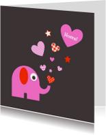 Felicitatiekaarten - Olifantje met sterren en hartjes
