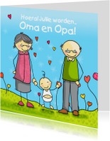 Felicitatiekaarten - Opa Oma felicitatie Anet Illustraties