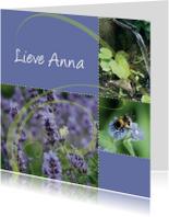 Zomaar kaarten - Paars-groene bloemenkaart eigen tekst