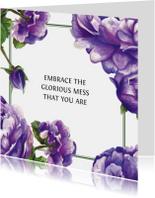 Spreukenkaarten - Paarse Bloemen Met Quote