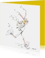 Paaskaart de dansende Paashaas