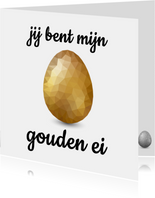 Paaskaart met groot glimmend gouden low poly paasei