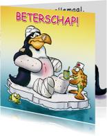 Beterschapskaarten - Pinguins beterschap in verband