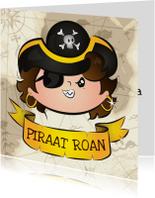Piraat met label voor tekst