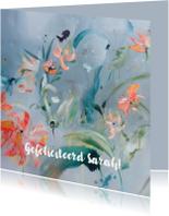 Verjaardagskaarten - Print schilderij Bird met eigen tekst