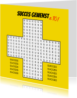 Succes kaarten - Puzzelkaart woordzoeker 10 x succes!