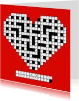 Liefde kaarten - Rode puzzelkaart Liefde met cijfercode in hartvorm