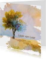 Rouwkaarten - Rouw waterverf zomerse boom
