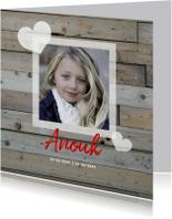 rouwkaart kind hout