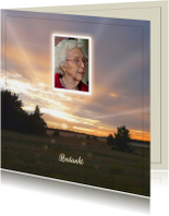 Rouwkaart ondergaande zon en eigen foto