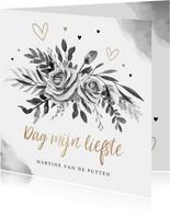 Rouwkaart stijlvol goudlook zwart wit bloemen hartjes