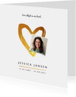 Rouwkaart stijlvol klassiek met goudlook hart en foto