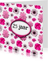Jubileumkaarten - Roze bloemen  jubileum 25 jr