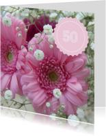 Jubileumkaarten - Roze jubileumkaart 50 jaar