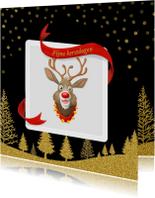 Kerstkaarten - Rudolf met linten en goud