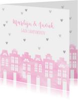 Samenwonen kaart huisjes roze aquarel en hartjes