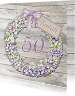 Verjaardagskaarten - Sarah bloemenkrans hortensia
