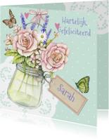 Verjaardagskaarten - Sarah met vaasje rozen