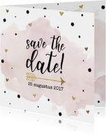 Save the date aquarel goudfolie
