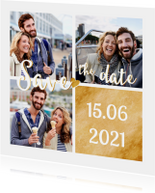Save the date goud fotocollage