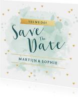 Save the Date kaart aquarel tekst hartjes