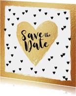 Save the Date kaart hartjes goud en zwartwit