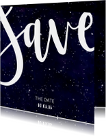 Save the date kaart 'SAVE' Galaxy