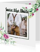 Save the Date kaart Stijlvol wit met bloemen