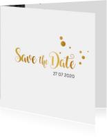 Trouwkaarten - Save the date kaart trouwen goud serie