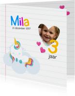 Kinderfeestjes - Schoolschrift met unicorn & regenboog stickers