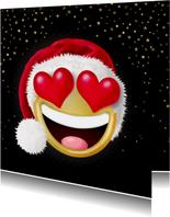 Kerstkaarten - Smiley met hartjes als ogen en kerstmuts op