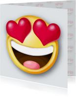 Liefde kaarten - Smiley met hartjes als ogen