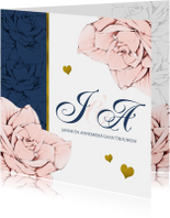 Stijlvolle en originele trouwkaart in navyblue en rozen