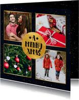 Stijlvolle foto kerstkaart met gouden cirkel en typografie