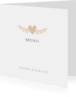 Stijlvolle witte menukaart huwelijk met namen en hartje