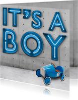 Stoere Neon Geboortekaart met auto voor jongen