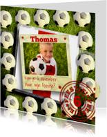 Stoere rood-witte voetbal uitnodiging