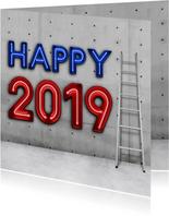 Stoere vierkante nieuwjaarskaart 2019 met neon